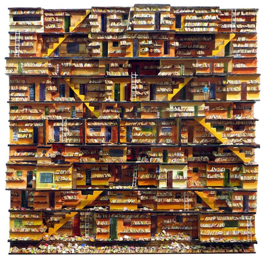 """NORMAND HAMEL L'ombre du vent, 2015 Assemblage de bois, styrène, acrylique, peinture à l'huile / Wood assemblage, styrene, acrylic, oil paint 45.72 x 45.72 cm / 18"""" x 18"""" (expo: Poésie muette / Poetry Unspoken Du 21 janvier 2016 au 12 mars 2016 )"""