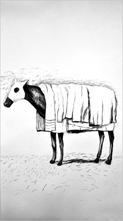 "Horse and Blanket, 2012 (Anna Beaudin) Fusain sur papier | Charcoal on paper 106.7 x 157.5 cm / 42 "" x 62 ""  CAD $3,230 (encadrée | framed)"