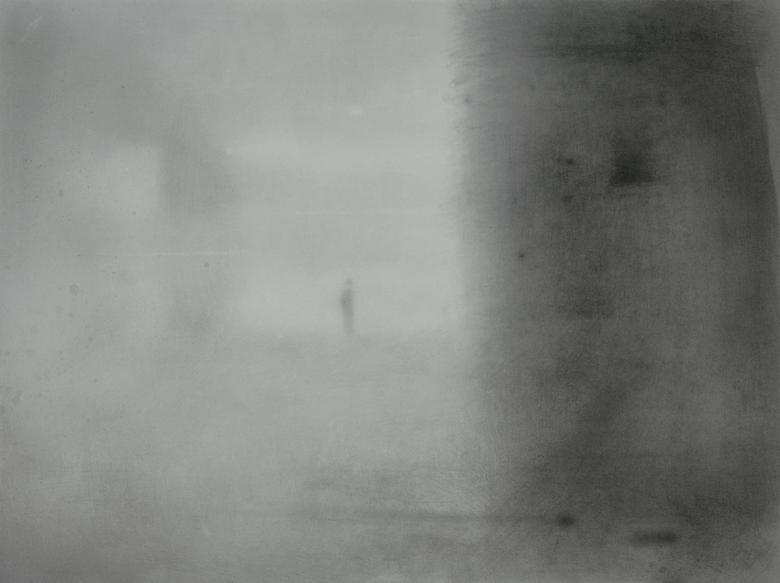"CRAIG HOOD Man and Darkness, 2010, Graphite sur papier | Graphite on paper, 53.3 x 71.1 cm | 21 "" x 28 ""  USD $3,110 (encadrée | framed) (Prix en $ Canadian la journée de vente | Price in Canadian dollars on day of sale)"