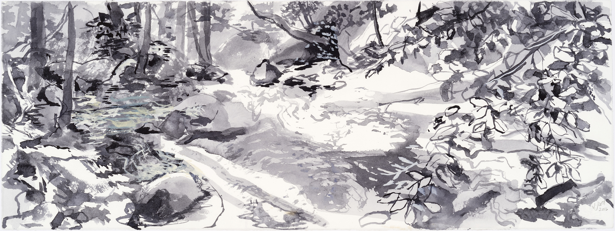 SUSAN G. SCOTT Stream Water    2017, Aquarelle sur papier | Watercolour on paper, 27.94 x 76.2 cm | 11″ x 30″ CAD $3,075 (sans encadrement | unframed)