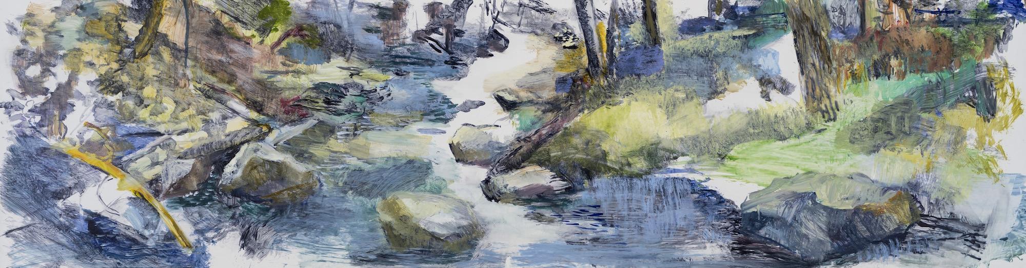 SUSAN G SCOTT Water Cascading,  2016, Huile sur Terraskin | Oil on TerraSkin, 50.8 x 182.88 cm | 20″ x 72″ CAD $7,360 (sans encadrement / unframed)