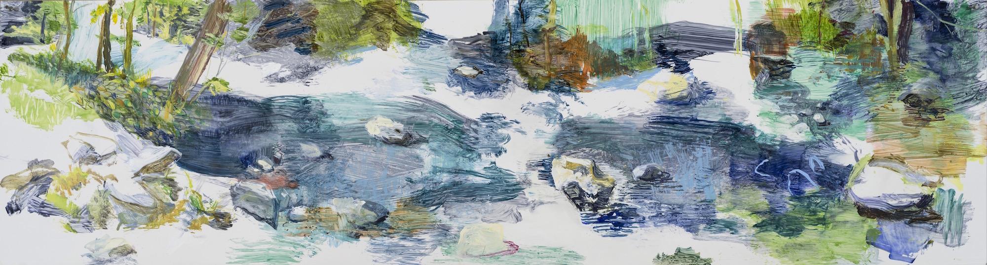 SUSAN G SCOTT At Rest,  2016, Huile sur Terraskin | oil on Terraskin, 50.8 x 182.88 | 20″ x 72″ CAD $7,360 (sans encadrement / unframed)