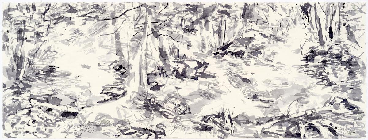 SUSAN G. SCOTT  In Light Shadows,   2017, Aquarelle sur papier | Watercolour on paper, 27.94 x 76.2 cm | 11″ x 30″, CAD $3,075 (sans encadrement / unframed)