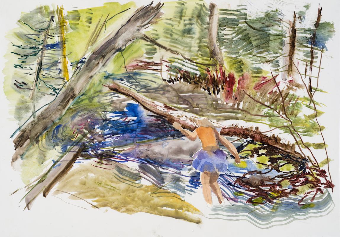 """SUSAN G. SCOTT  Spring Wind""""    2017, Aquarelle sur terraskin et papier / Watercolour on Terraskin and paper 35.56 x 50.8 cm / 14″ x 20″ CAD $2,550 (sans encadrement / unframed)"""