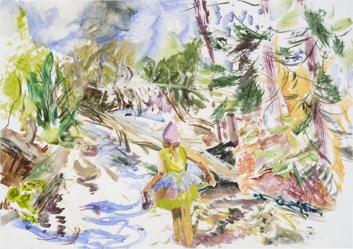 SUSAN G. SCOTT  Coming Into Blossom,    2017, Aquarelle sur terraskin et papier | Watercolour on Terraskin and paper, 35.56 x 50.8 cm | 14″ x 20″, CAD $2,550 (sans encadrement / unframed)