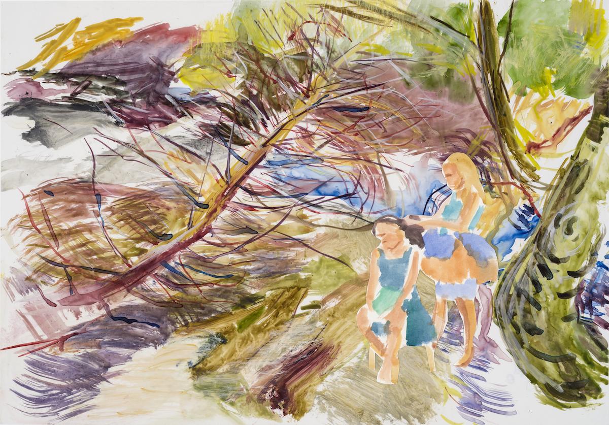 SUSAN G. SCOTT  Willow Branches,    2017, Aquarelle sur TerraSkin et papier | Watercolour on Terraskin and paper, 35.56 x 50.8 cm | 14″ x 20″, CAD $2,550 (sans encadrement / unframed)
