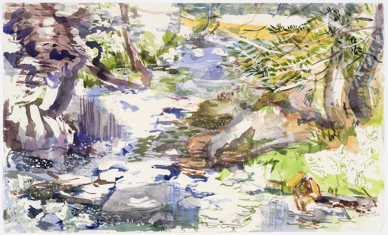 SUSAN G SCOTT  Clouds Come, Clouds Go,    2017 Aquarelle sur papier | Watercolour on paper, 34.29 x 55.88 cm | 13.5″ x 22″,  CAD $2,665 (sans encadrement | unframed)