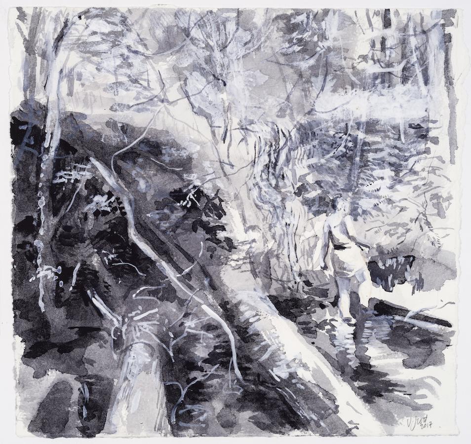SUSAN G SCOTT  Study Past the Fallen Tree (light),    2017, Aquarelle sur papier | Watercolour on paper, 27.94 x 27.94 cm | 11″ x 11″, CAD $1,650 (sans encadrement / unframed)