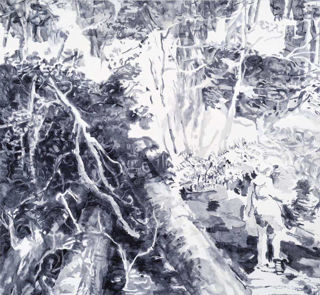 SUSAN G SCOTT Past the Fallen Tree,    2017, Huile sur toile | Oil on canvas, 182.88 x 198.12 cm | 72″ x 78″ CAD $14,250 (sans encadrement / unframed)