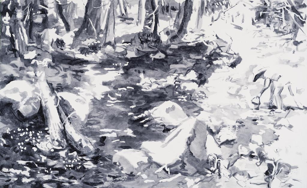 SUSAN G. SCOTT  What Was Found,  2017, Huile sur toile | oil on canvas, 124.456 x 200.66  cm | 49″ x 79″ CAD $12,160 (sans encadrement | unframed)