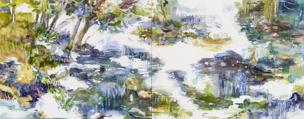 SUSAN G SCOTT Lost in Thought    2017, Huile sur toile | oil on canvas,  (Diptyque | Diptych), 101.6 x 254 cm | 40″ x 100″ CAD $13,300 (sans encadrement / unframed)