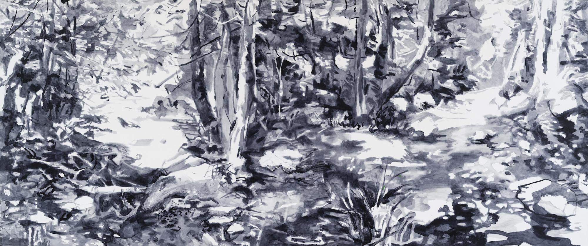 SUSAN G SCOTT The World is Round, 2017, Huile sur toile | Oil on canvas, 152.4 x 365.76 cm | 60″ x 144″ CAD $19,380 (sans encadrement / unframed)
