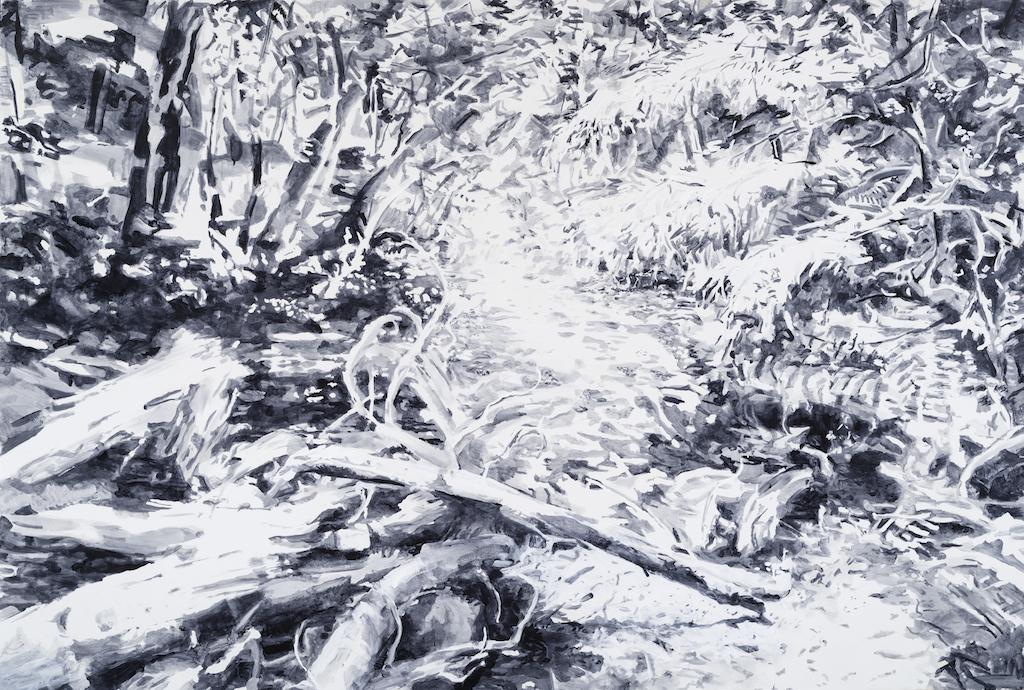 SUSAN G. SCOTT  Light Falls Everywhere,    2017 Huile sur toile | oil on canvas, 182.88 x 274.32 cm | 72″ x 108″, CAD $17,100 (sans encadrement | unframed)