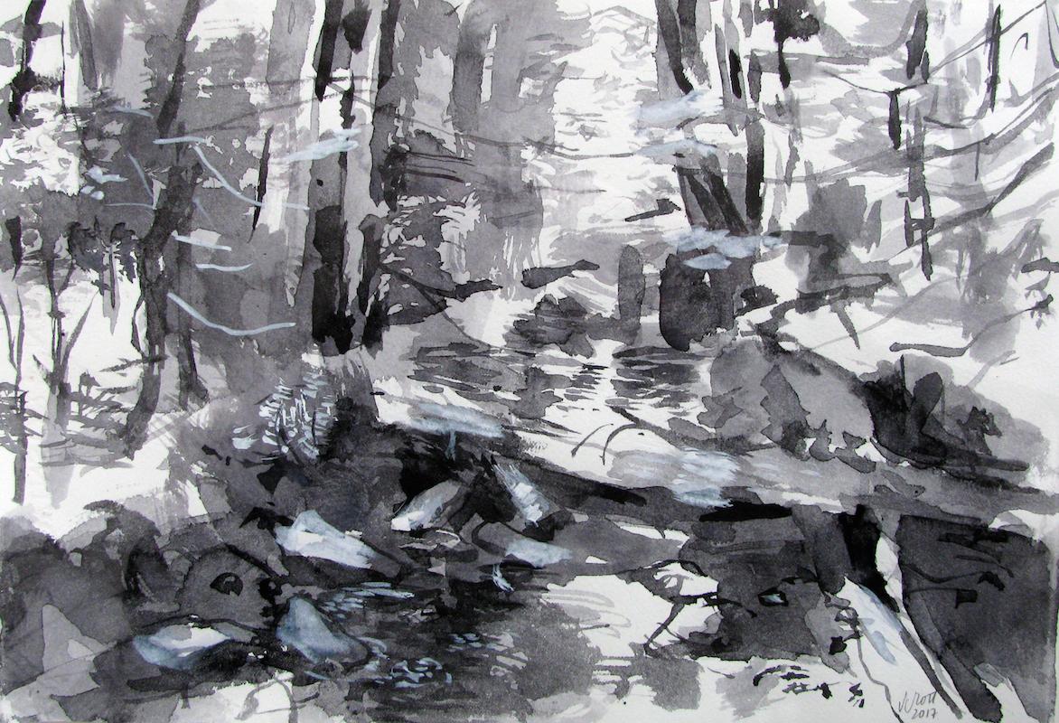 SUSAN G SCOTT  Study for Deep Woods (Spring),    2017, Aquarelle sur papier | Watercolour on paper, 25.4 x 38.1 cm | 10″ x 15″ CAD $1,875 (sans encadrement / unframed)