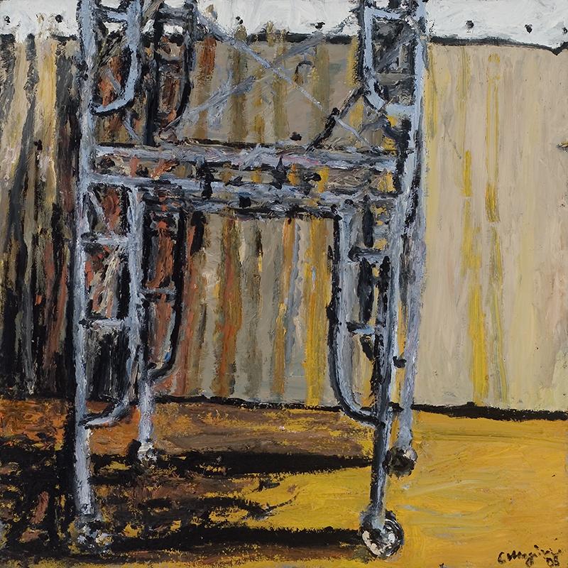 """ATLAS, 2008  Huile sur métal / Oil on metal  121.9 × 121.9 cm / 48"""" × 48""""  USD $7,850 (avec encadrement / framed)"""