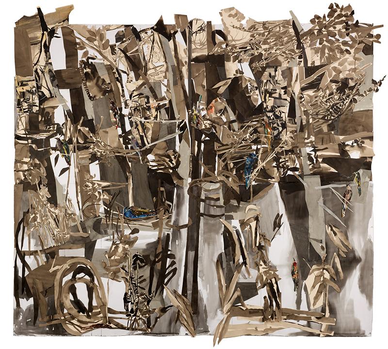 """BLUE SPEAKEASY, 2010  Dessin, Monotype à l'huile et collage sur papier / Drawing, oil Monotype and collage on paper  209.6 × 241.3 cm / 82.5"""" × 95""""  USD $7,000 (sans encadrement / unframed)"""