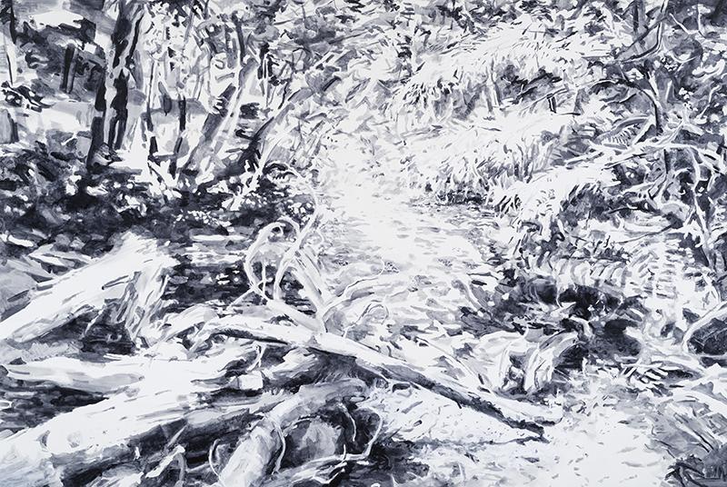 """LIGHT FALLS EVERYWHERE, 2017  Huile sur toile / Oil on canvas  182.9 x 274.3 cm / 72"""" x 108""""  CAD $17,100 (sans encadrement / unframed)"""