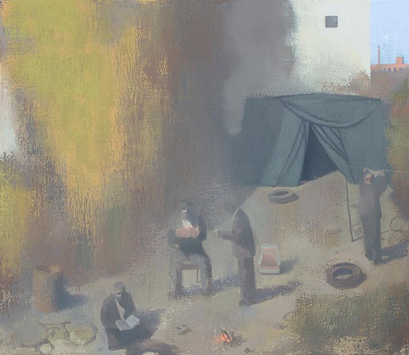 """HOBOS WITH A BABY, 2007  Huile sur toile de lin / Oil on linen  66 × 76.2 cm / 26"""" × 30""""  USD $4,750 (avec encadrement / framed)"""