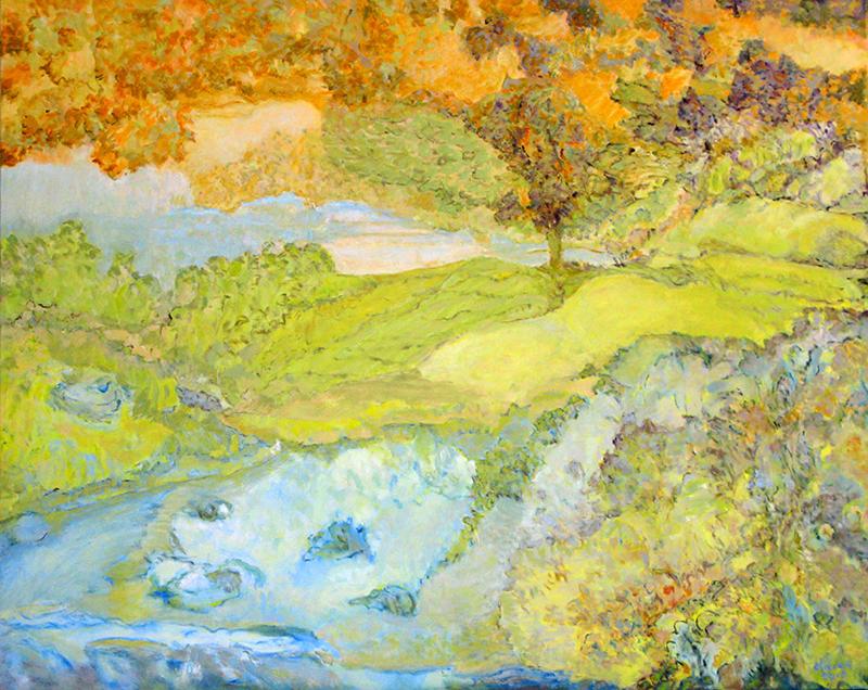 """UN JOUR DE PRINTEMPS, 2010  Huile sur toile / Oil on canvas  121.9 × 121.9 cm / 48"""" × 48""""  CAD $6,420 (avec encadrement / framed) 02 - OLIVIER - Un jour de printemps-2010"""