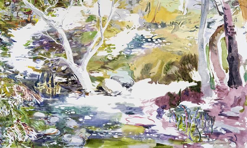 """WHERE WATER GROWS STILL, 2017  Huile sur toile / Oil on canvas  182.9 x 309.9 cm / 72"""" x 122""""  CAD $18,430 (sans encadrement / unframed)"""