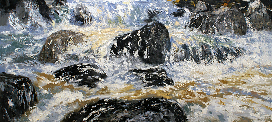 "WHITE MOUNTAIN FRESHET #4, 2010  Huile sur toile / Oil on canvas  106.7 x 213.4 cm / 42"" x 84""  USD $15,735 (sans encadrement / unframed)"