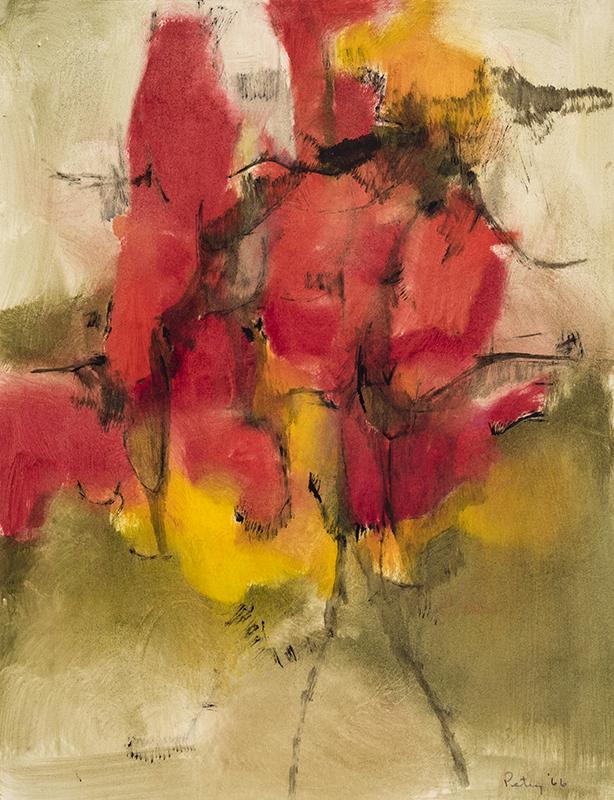 """TREMBLE OF HEAT, 1966  Huile sur papier / Oil on paper  60 x 47 cm / 23 ½"""" x 18 ½""""  CAD $3,120 (avec encadrement / framed)"""