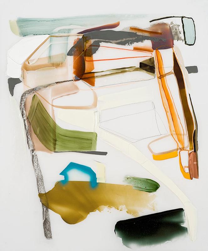 """ÉBAUCHE POUR UNE PLACE, 2016  Acrylique et crayons de couleur sur Mylar / Acrylic and crayons on Mylar  107.95 x 88.9 cm / 42 ½"""" x 35""""  CAD $4,165 (avec encadrement / framed)"""