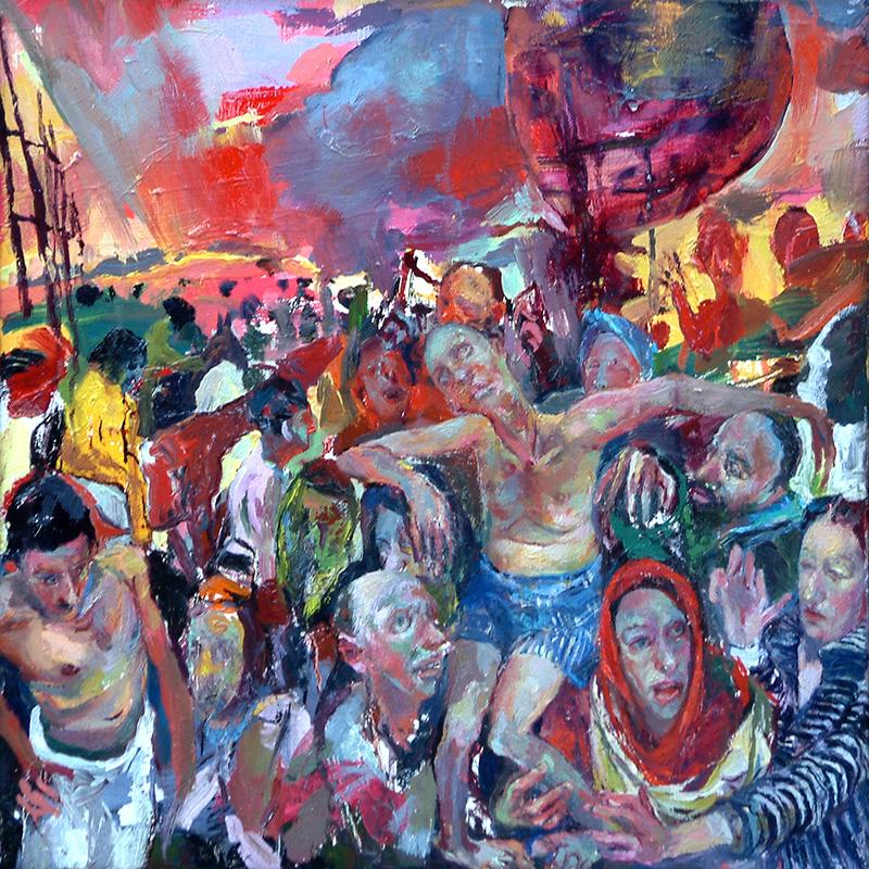 """LOSING HEART NO. 1, 2008  Huile sur toile / Oil on canvas  39.4 × 39.4 cm / 15.5"""" × 15.5""""  USD $1,500 (avec encadrement / framed)"""