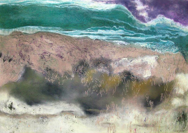 """LE TEMP SE COUVRE, 2014  Pastel sec sur papier Maidstone / Dry pastel on paper Maidstone  45.7 × 64.8 cm / 18"""" × 25.5""""  CAD $4,200 (avec encadrement / framed)"""