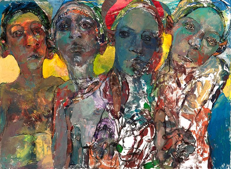 "BELLYACHING, 2010  Collage et monotype sur papier / Collage and monotype on paper  55.9 × 76.2 cm / 22"" × 30""  USD $2,050 (avec encadrement / framed)"