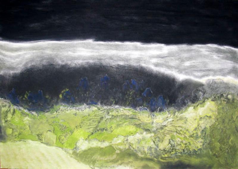 """LA PEUR, 2014  Pastel sec sur papier / Dry pastel on paper  45.7 × 66 cm / 18"""" × 26""""  CAD $1,915 (avec encadrement / framed)"""