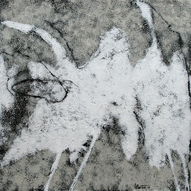"""BLANCHES IX, 2013  Acrylique, sable et gesso sur toile / Acrylic, sand and gesso on canvas  38.1 x 38.1 cm / 15"""" x 15""""  CAD $1,220 (avec encadrement / framed)"""