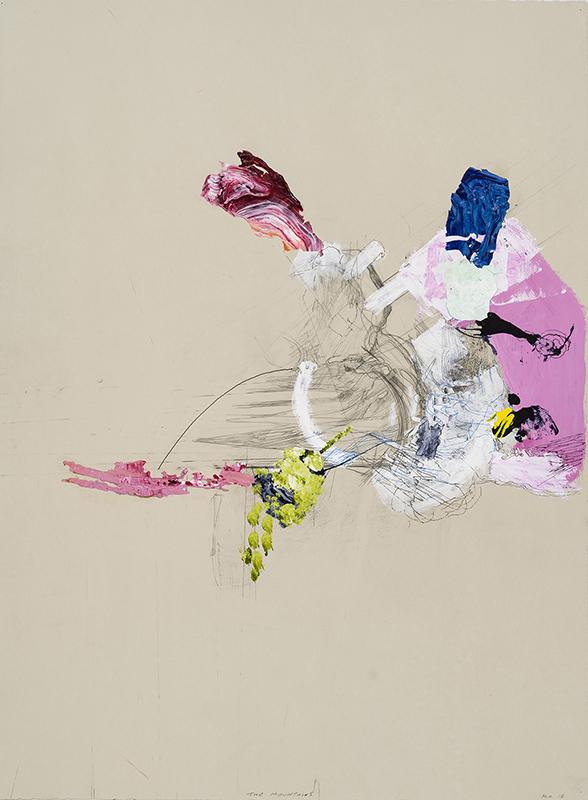 """THE MOUNTAINS, 2010  Acrylique, encre et graphite sur papier / Acrylic, ink and graphite on paper  76.2 x 55.9 cm / 30"""" x 22""""  USD $1,990 (avec encadrement / framed)"""