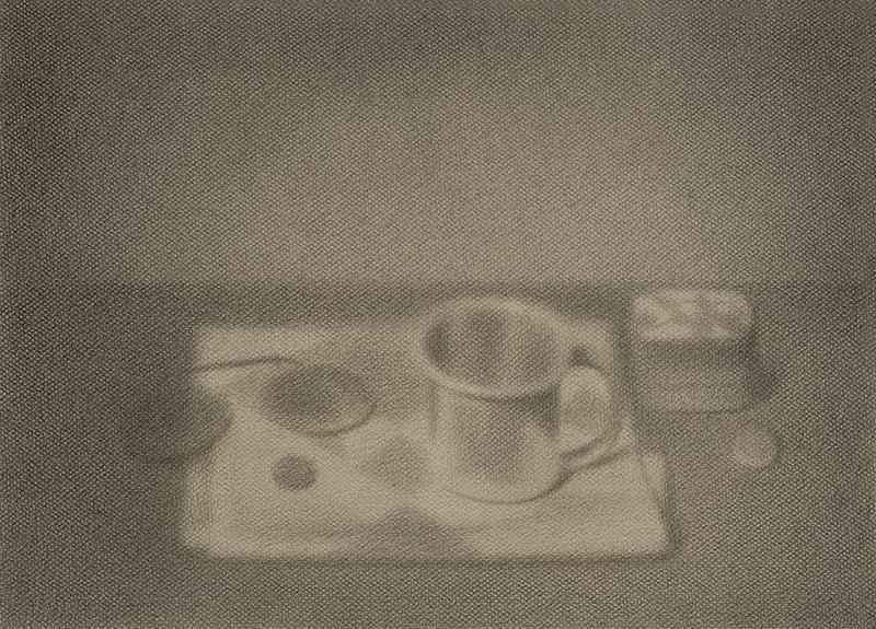 """BEGGAR'S CUP, 2014  Graphite sur papier / Graphite on paper  33 × 45.7 cm / 13"""" × 18""""  USD $2,335 (avec encadrement / framed)"""