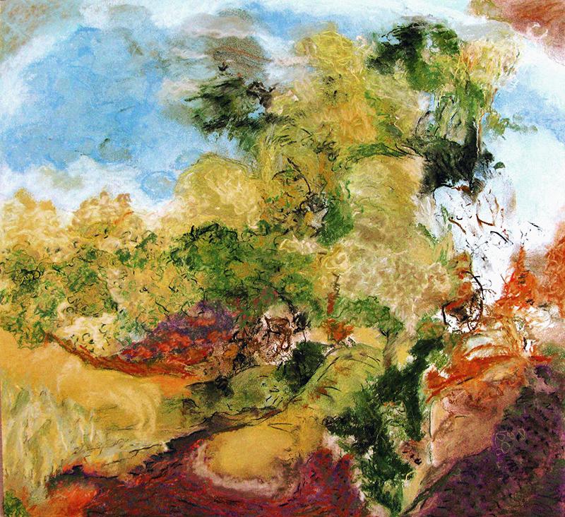"""FEUILLU, 2010  Pastel sec sur papier / Dry pastel on paper  47.6 × 50.8 cm / 18.75"""" × 20""""  CAD $1,625 (avec encadrement / framed)"""
