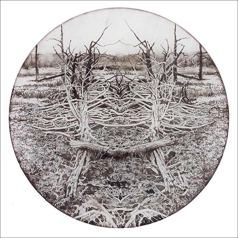 """WASTELAND, 2012  Encre sur mylar givré / Ink on frosted Mylar  33.7 x 33.7 cm / 13 ¼"""" x 13 ¼""""  USD $4,250 (avec encadrement / framed)"""