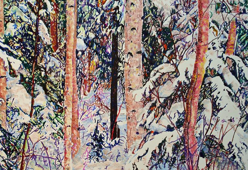 LIGHT IN THE FOREST,2013  Huile et pastel sur papier / Oil and pastel on paper  71.1 x 101.6 cm / 28'' x 40''  USD $5,055 (avec encadrement / framed)