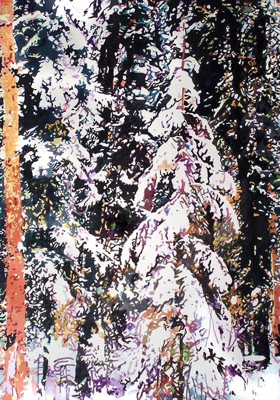 SNOW AT CHRISTMAS,2006  Acrylique aquarelle sur papier / Acrylic watercolour on paper  76.2 x 55.9 cm / 30'' x 22''  USD $3,380 (avec encadrement / framed)