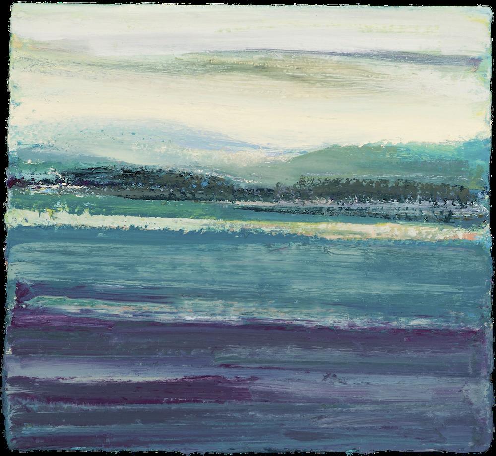 """BARRY GEALT Reflectioins II, Winter Harbor, Maine 2011, Huile sur panneau / oil on panel - 48.26 x 50.8 cm - 19"""" x 20""""USD $3,705 (avec encadrement / framed)"""