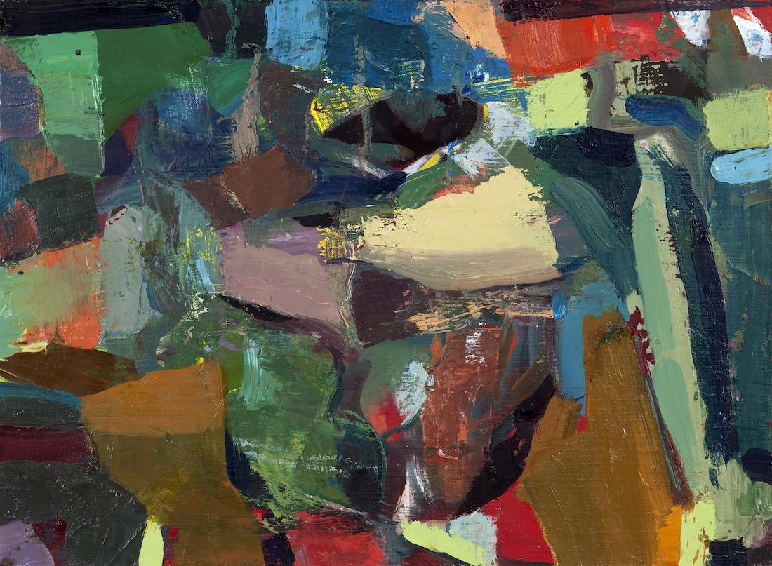 """JENNIFER MEANLEY Green Still Life Wakening, 2014  Huile sur toile / Oil on canvas  45.7 × 61 cm / 18"""" × 24""""  USD $2,340 (avec encadrement / framed)"""