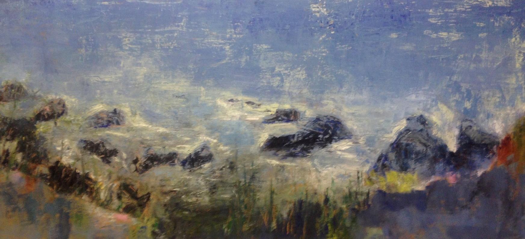 """KAREN THOMSON, Atlantic Coastline, 2013  Huile et encaustique sur panneau / Oil and encaustic on panel  91.4 x 213.4 cm / 36"""" x 84""""  CAD $8,050 (avec encadrement / framed)"""