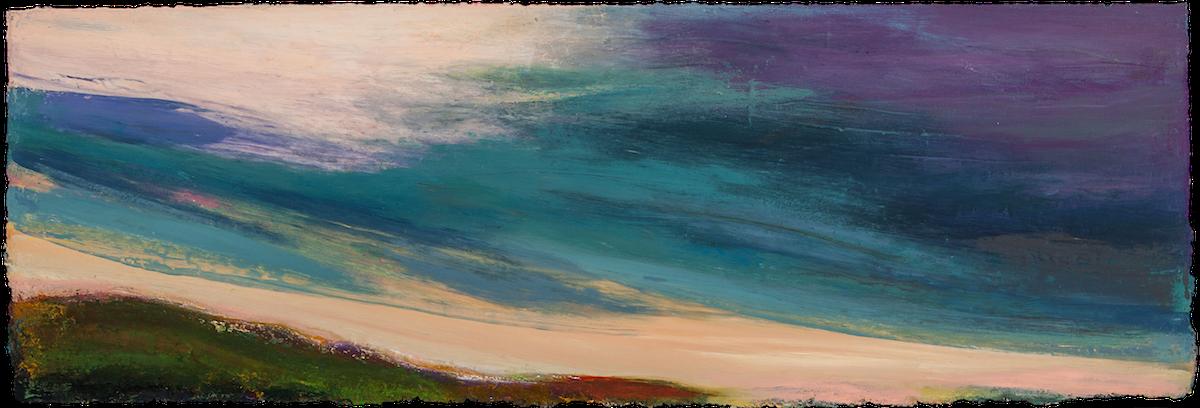 OCTOBER SKY, WEDNESDAY, 2017 Huile sur panneau / oil on panel – 53.34 x 183.88 cm / 24 ″ x 72″ USD $12,480 (avec encadrement / framed)