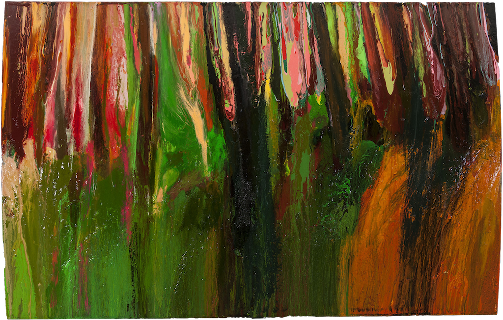 THE WOODS, WARM AFTERNOON, LATE MAY 29TH, 2017 Huile sur panneau / oil on panel – 101.6 x 154.94 cm / 40 ″ x 61″ USD $13,130 (avec encadrement / framed)