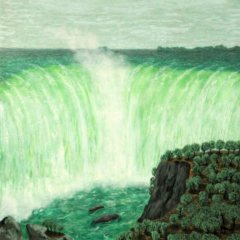 ANNA BEAUDIN, Horseshoe Falls, Niagara, 2017, Huile sur panneau / Oil on panel – 50.8 x 50.8 xm / 20″ x 20″ CAD $1,300 USD $850 (sans encadrement / unframed)